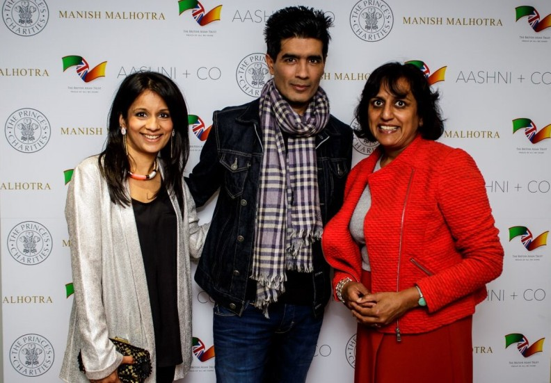 L to R - British Asian Trust ambassadors Sonali Shah, Manish Malhotra and Ritula Shah