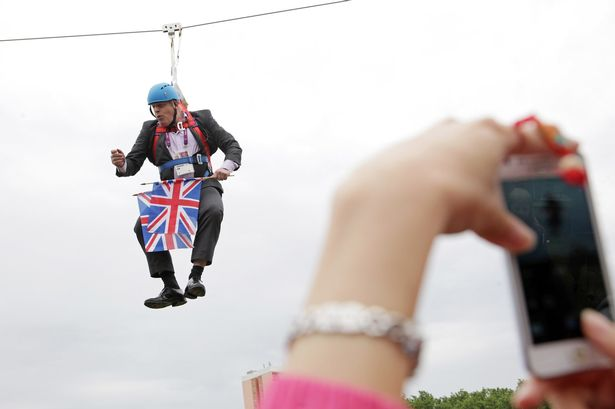 Boris Johnson stuck on a zip wire